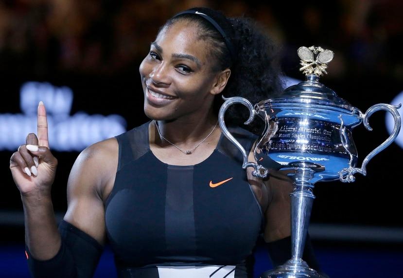Serena Williams como ganadora del l Abierto de Australia en el 2017.