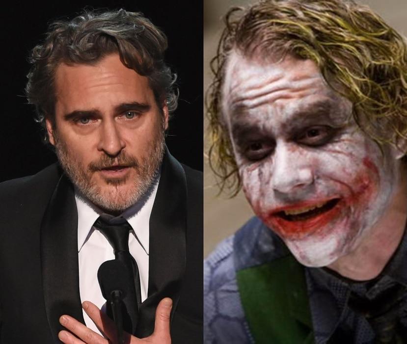 """Joaquin Phoenix al momento recibir el premio y Heath Ledger cuando interpretó al Joker en """"The Dark Knight Rises"""". (Fotomontaje)"""