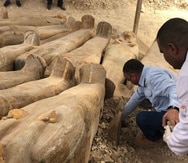 Los ataúdes de 3,000 años de antigüedad, parecen estar en buen estado de conservación. (Twitter/Mete Sohtaoglu)