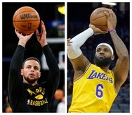 Stephen Curry, de los Warriors, y LeBron James, de los Lakers.