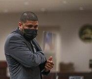 El exboxeador Juanma López presente en la vista preliminar en su contra por cargos de violencia de género.