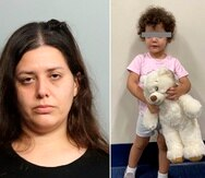 Composición de dos fotografías cedidas por el Deprtamento de Policía de Miami donde aparece Carolina Vizcarra, de 33 años, y su hija de 2 años, a quien abandonó con un desconocido en un hospital.
