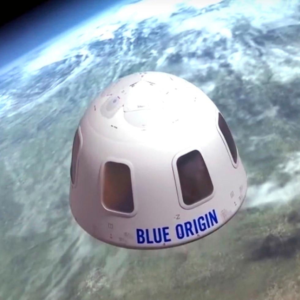Ilustración sin fecha proporcionada por Blue Origin de la cápsula en la que la empresa pretende llevar a turistas al espacio.