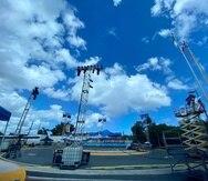 El ring está ubicado en la rotonda en las afueras del gimnasio Félix Pagán Pintor en Guaynabo.
