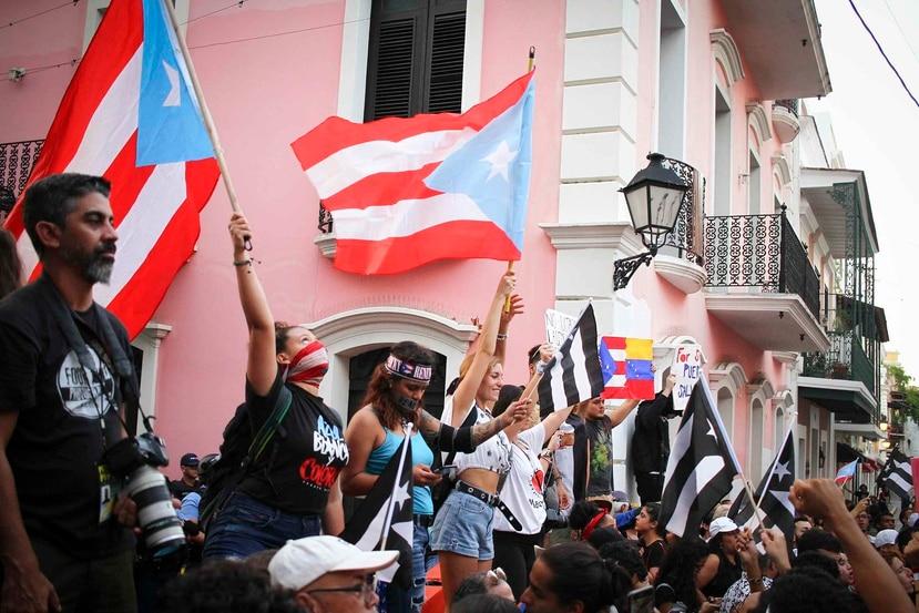 Manifestación en el Viejo San Juan, el viernes 19 de julio de 2019.