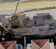 Foto -de la semana pasada- de la construcción en la playa del barrio Barrero de Rincón.
