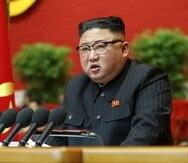 En esta imagen proporcionada por el gobierno de Corea del Norte, el líder del país, Kim Jong-un, asiste a un congreso del partido gobernante en Pyongyang, Corea del Norte, el 5 de enero de 2021.