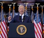 El presidente Joe Biden pronuncia un discurso sobre infraestructura, el miércoles 31 de marzo de 2021, en el Carpenters Pittsburgh Training Center, en Pittsburgh. (AP Foto/Evan Vucci)