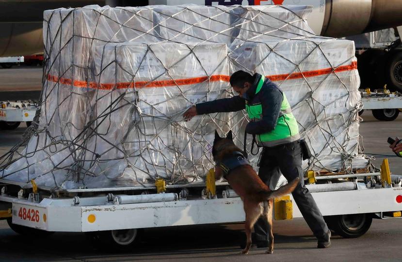 Un oficial de policía de inmigración y un perro de búsqueda inspeccionan un paquete que contiene suministros médicos de Estados Unidos en el aeropuerto de Toluca, México. (AP)