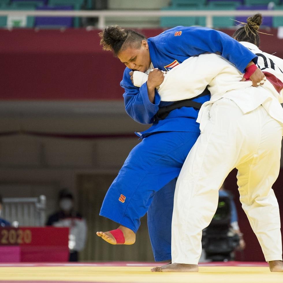 Melissa Mojica durante su combate en el judo, categoría +78 kilogramos.