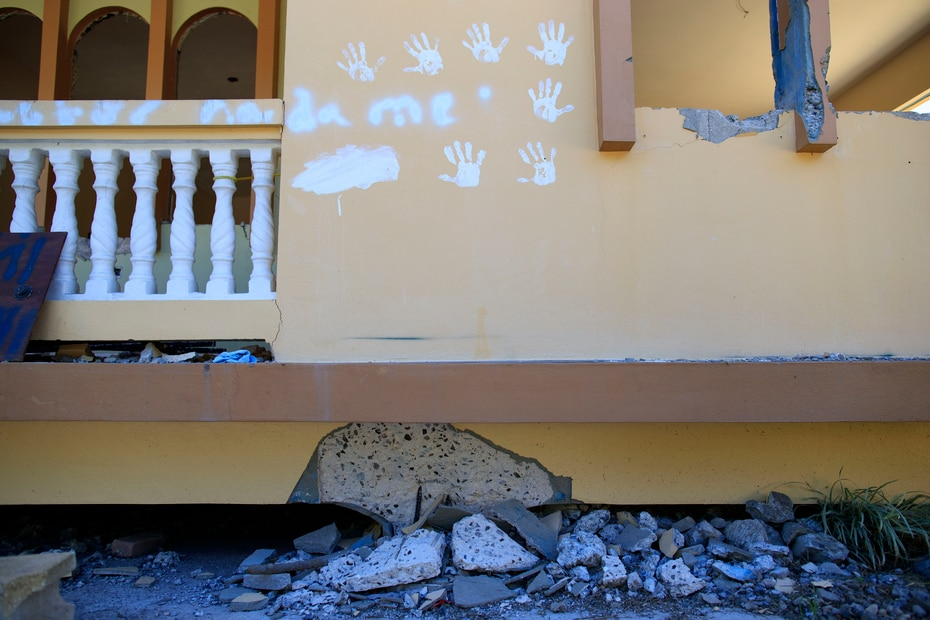 Una de varias estructuras afectadas en la urbanización Alturas del Cafetal en Yauco, comunidad que fue visitada el 19 de enero de 2020 por la comisionada residente en Washington, Jenniffer González y los congresistas Bill Posey, Stephanie Murphy y Donna Shalala.