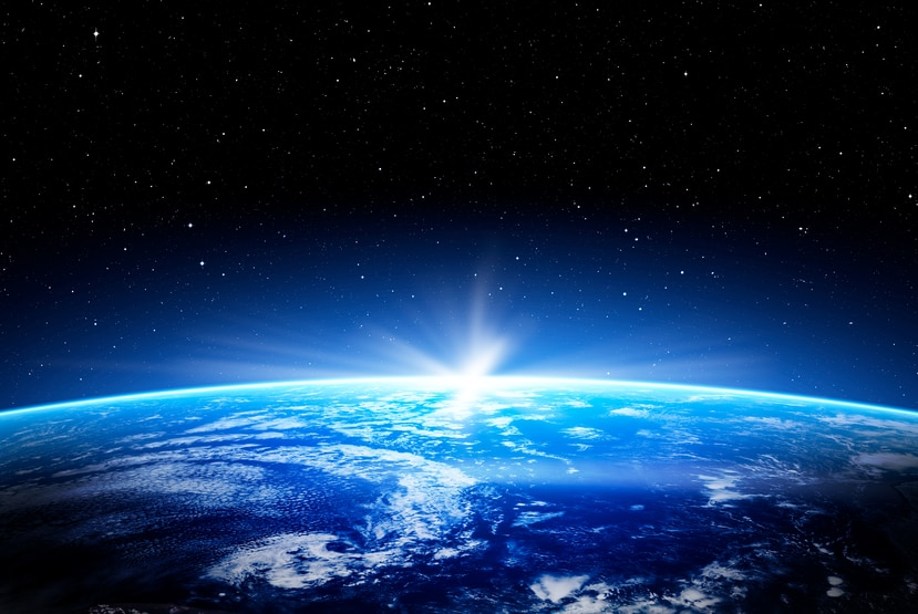 Vista de la atmósfera de la Tierra desde el espacio.