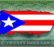 Motivo bandera Puerto Rico dinero