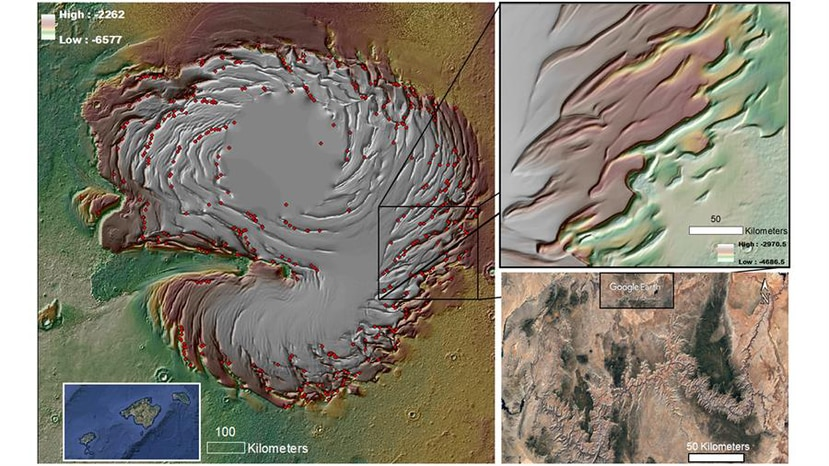 Modelo digital de elevaciones del casquete polar norte de Marte mostrando el sistema de cañones espirales.