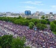 La marcha tomó tanto los carriles de ida como de vuelta del expreso Las Américas. (GFR Media)