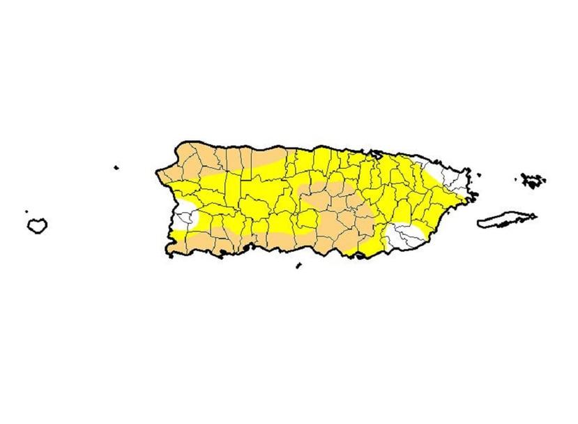 El área en color anaranjado claro representa a los municipios en sequía moderada. (Captura)