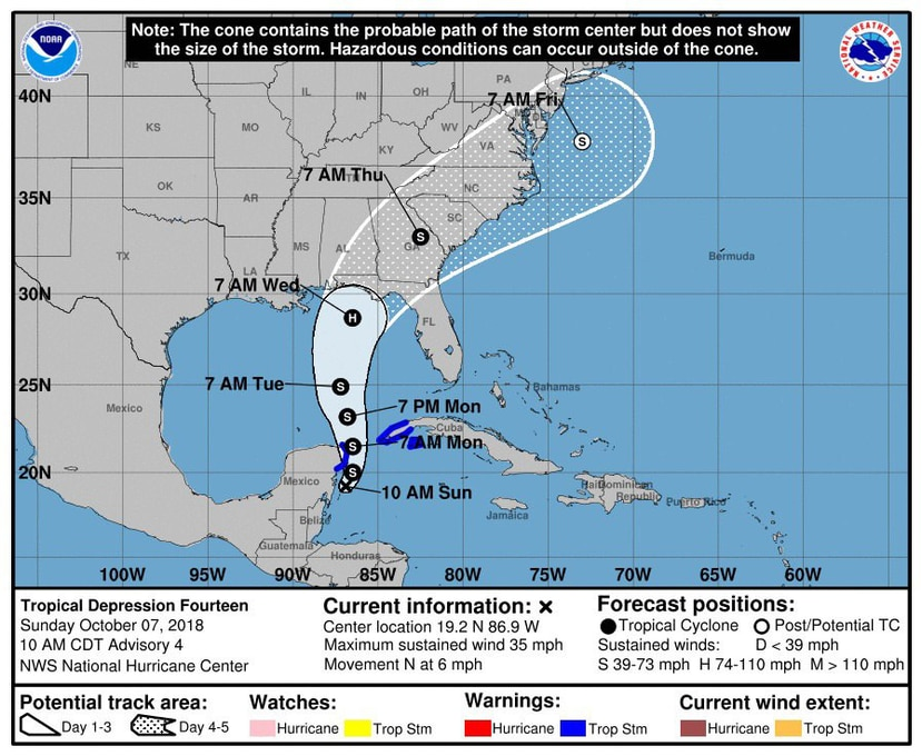 En su más reciente boletín, el NHC indica que la tormenta está a 145 km de Cozumel (México) y a 365 km del suroeste de la punta occidental de Cuba y se desplaza en dirección norte cerca a 9 kilómetros por hora).