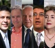 De izquierda a derecha, los exsecretarios de la Gobernación Víctor Suárez, Miguel Romero, César Miranda, Juan Carlos Blanco y Sila María Calderón. (Fotomontaje GFR Media)