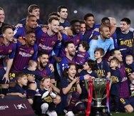 El Barca ganó el sábado el título de la liga española. (AP)