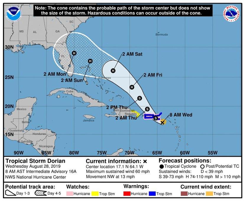 La tormenta tropical Dorian podría dejar hasta seis pulgadas de lluvia en la isla. (Suministrada)