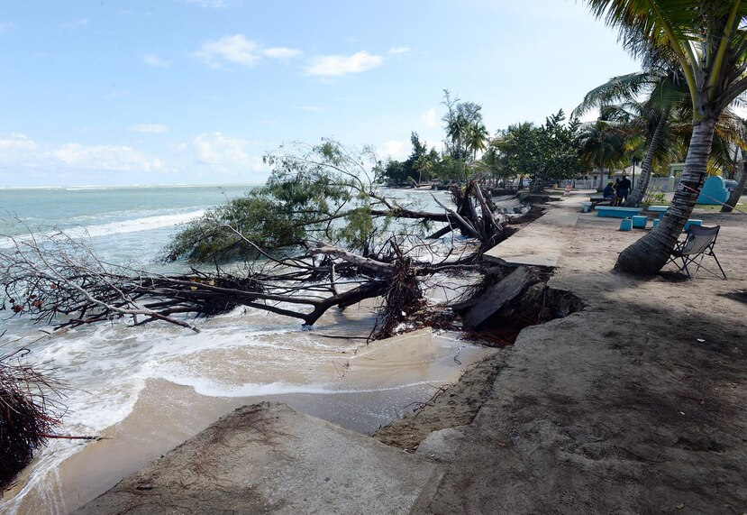 La erosión es la manifestación más clara del aumento en el nivel del mar en Puerto Rico. En la foto, el área de Parcelas Suárez, Loíza.