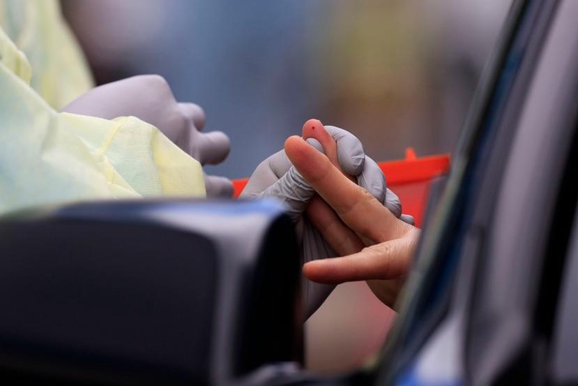 Personal médico toma una muestra para practicar una prueba serológica.