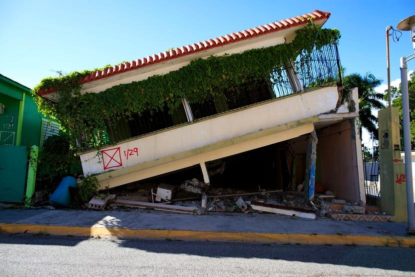 Una de las casas afectadas tras el temblor de enero de 2020 en Guánica.