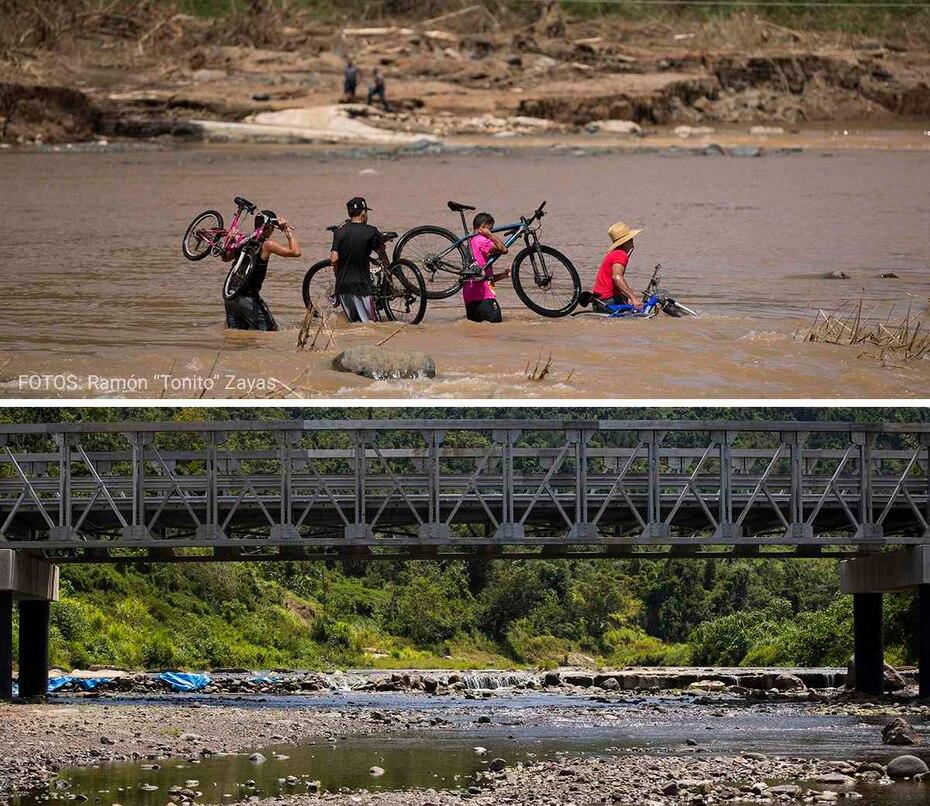 Residentes de los barrios San Lorenzo, Pasto y Vaga, en Morovis, se arriesgaban a cruzar el crecido río.