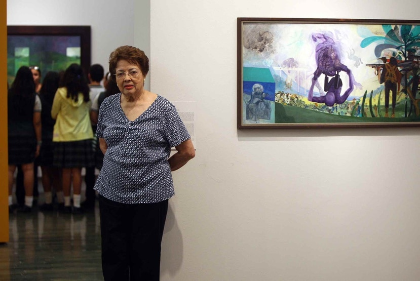 """Myrna Báez en 2013 con motivo de la exhibición """"Puerto Rico: puerta al paisaje"""" en el Museo Arte Contemporáneo de Puerto Rico."""
