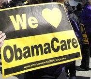 Un manifestante a favor del Obamacare.