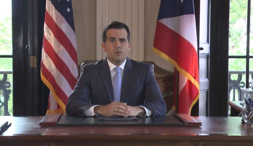 Rosselló gave the speech from his office in La Fortaleza. (Capture / WIPR)