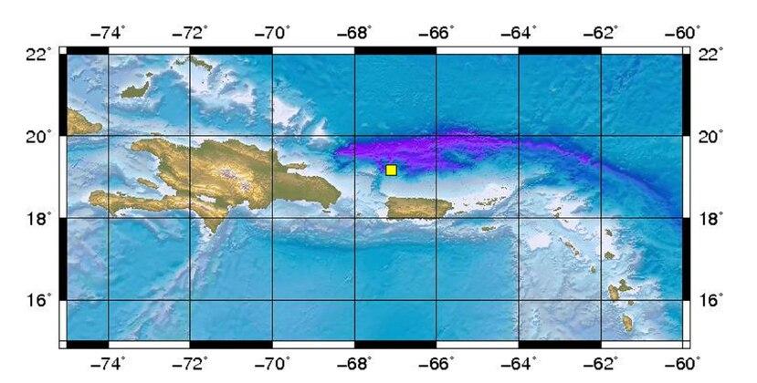 Imagen del epicentro del temblor. (Red Sísmica de Puerto Rico)