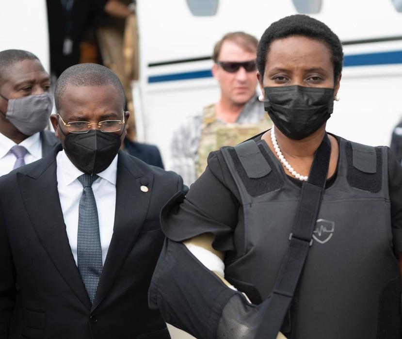 Martine Moise a su llegada a Haití.
