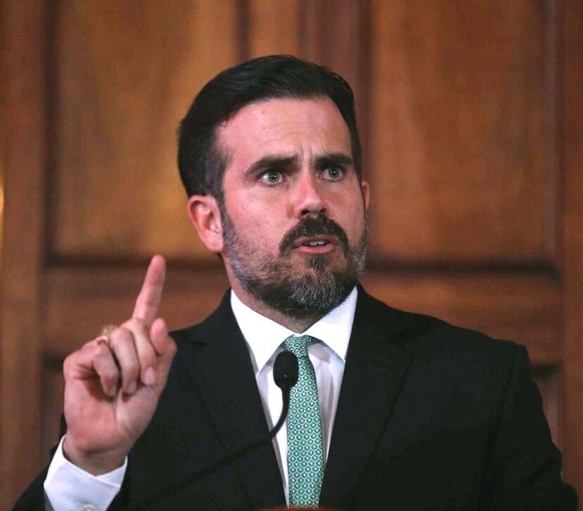 El gobernador Ricardo Rosselló Nevares durante un mensaje en La Fortaleza.