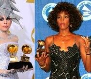 Whitney Houston y Lady Gaga no pudieron competir por el premio de mejor artista nuevo debido a las reglas para la categoría en los años que marcaron sus descubrimientos. (AP)