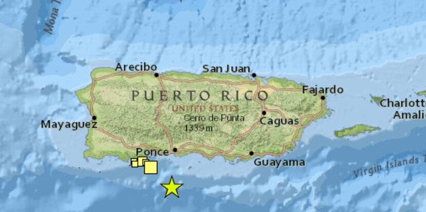 El temblor se registró al sur de Puerto Rico. (Captura / Red Sísmica)