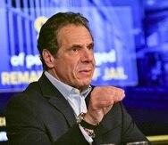 El gobernador de Nueva York, Andrew Cuomo, durante una conferencia de prensa en el Capitolio, en Albany, Nueva York. (AP/Hans Pennink)