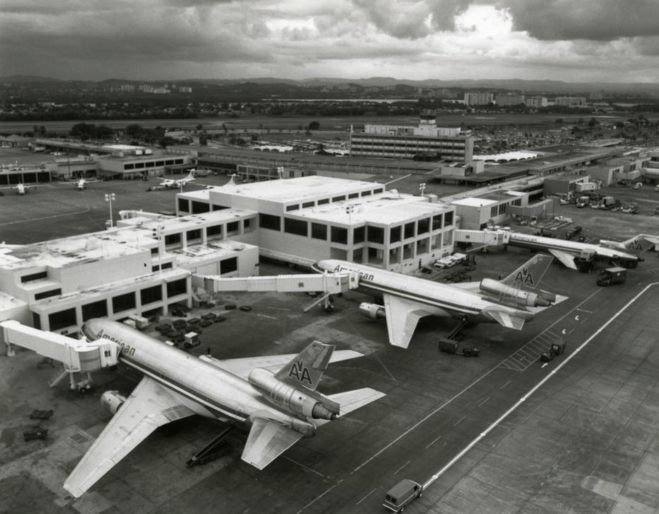 Terminal de American Airlines, en el aeropuerto Luis Muñoz Marín, en 1987.