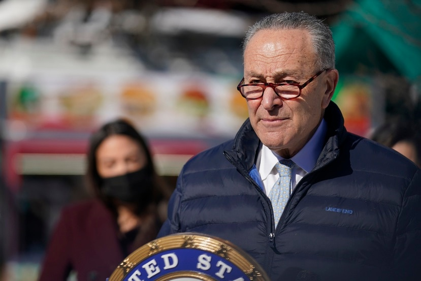 Senator Charles Schumer speaks during a news conference in the Queens borough of New York, Monday, Feb. 8, 2021.