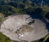 Imagen aérea de los daños sufridos en el radiotelescopio tras el colapso del martes.
