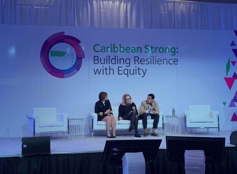 De izquierda a derecha: Rebecca Noe, Lynn Goldman y Satchit Balsari. (GFR Media)