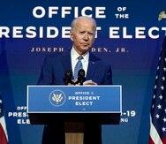 President-elect Joe Biden speaks Monday, Nov. 9, 2020, at The Queen theater in Wilmington, Del. (AP Photo/Carolyn Kaster)
