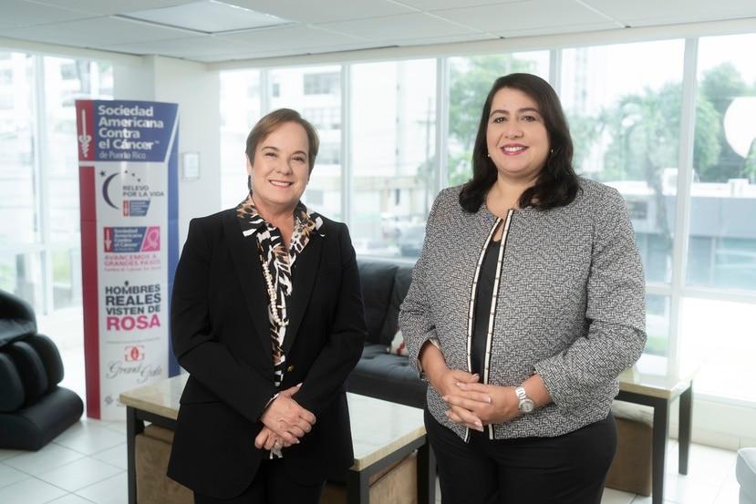 De izquierda a derecha: María Cristy, vicepresidenta de Servicios al Paciente, Control de Cáncer y Política Pública de la SACCPR. A su lado la doctora Lillian Santos, principal oficial ejecutiva de la SACCPR.