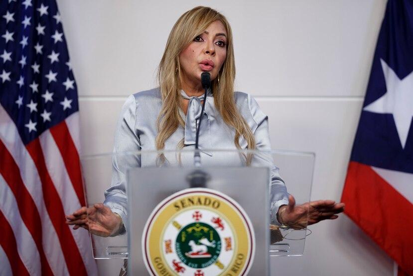 """San Juan, Puerto Rico, Julio 8 , 2020 - TUS NOTICIAS- FOTOS para ilustrar una historia sobre la senadora del Distrito Mayagüez-Aguadilla, Evelyn Vázquez Nieves y el supuesto referido referido de ella y su esposo, por parte de la hoy exsecretaria de Justicia. La foto se realizó en el día 114 (MIERCOLES) del toque de queda total como medida de minimizar la propagación del Coronavirus (COVID-19). EN LA FOTO Vázquez durante la conferencia.   FOTO POR:  tonito.zayas@gfrmedia.com Ramon """"Tonito"""" Zayas / GFR Media"""