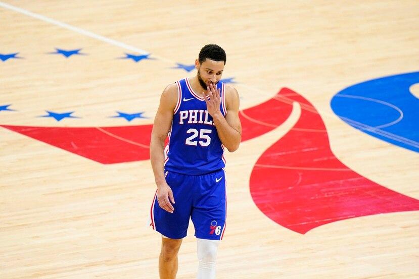 En foto del 16 de junio del 2021, el base de los 76ers de Filadelfia Ben Simmons en el juego 5 de la serie de segunda ronda ante los Hawks de Atlanta.