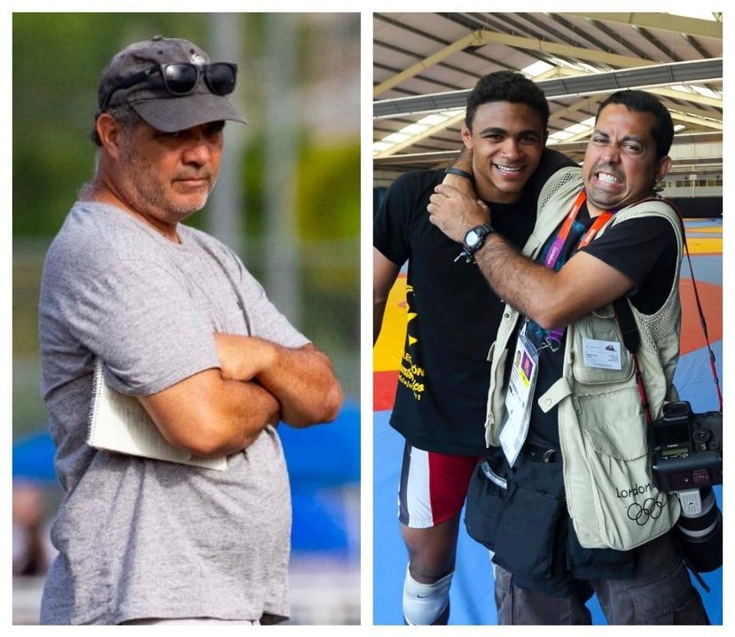El fotoperiodista Tonito Zayas (derecha) abrazando al luchador olímpico Franklin Gómez en un centro de práctica en Londres 2012, y Fernando Ribas (izquierda) serán nuestros recursos en Tokio.
