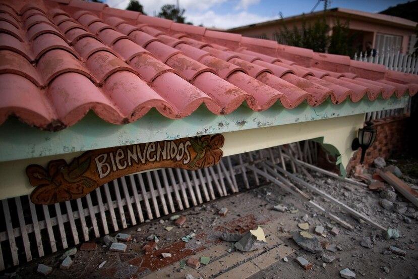 Una de las residencias que colapsó en Guánica tras el terremoto de 6.4 que afectó la región suroeste de Puerto Rico,  durante la madrugada del martes 8 de enero.