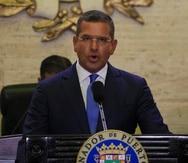 El gobernador Pedro Pierluisi durante el mensaje de presupuesto que ofreció ante los miembros del Senado.