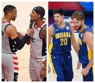 A la izquierda, Russell Westbrook y Bradley Beal, de los Wizards. A la derecha, Doug McDermott (20) y Domantas Sabonis, de los Pacers.