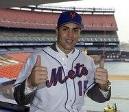 Imagen de Carlos Beltrán en 2005 cuando firmó con los Mets de Nueva York a los 27 años.